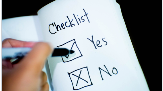 Due Diligence Checklist Items being marked off